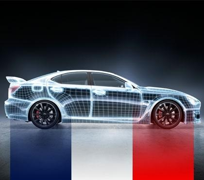 samochód zfrancuską flagą